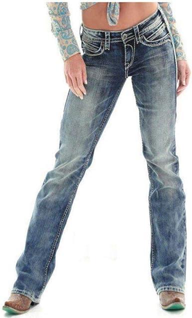 Hosd Jeans De Mujer Pantalones De Mezclilla Elasticos De Cintura Alta De Pierna Ancha Pantalones Vaqueros Rasgados Para Mujeres Pantalones Sueltos Amazon Es Ropa Y Accesorios