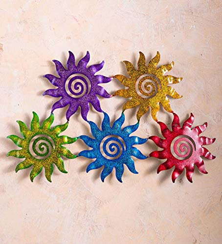 Plow & Hearth Colorful Five Suns Metal Wall Art