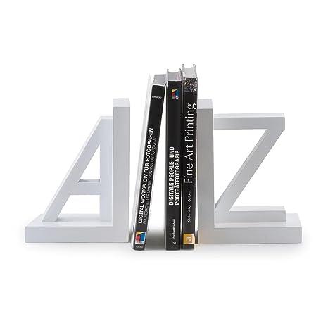 levandeo Juego de 2 sujetalibros Madera Blanco Letras a Z 15 x 11 x 15 cm