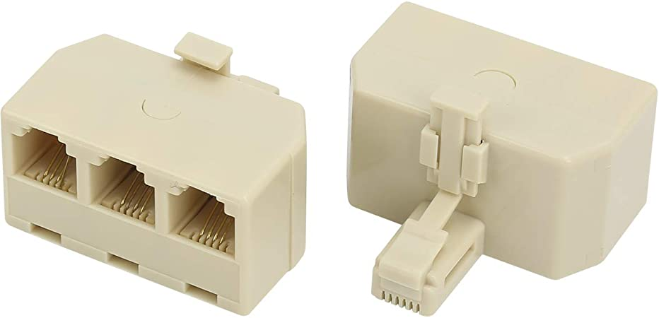 Telephone Splitter RJ11 6P4C 1 Male to 2 Female Adapter RJ11 to RJ11 Separator