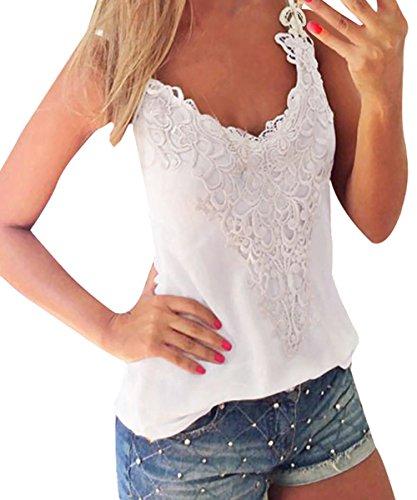 ISASSY - Camiseta sin mangas - Sin mangas - para mujer blanco