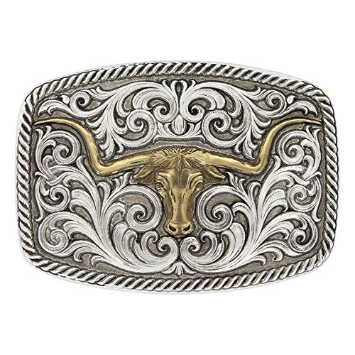 Montana Silversmiths Western Antiqued Two Tone Champion Texas Longhorn Belt Buckle, 3.75