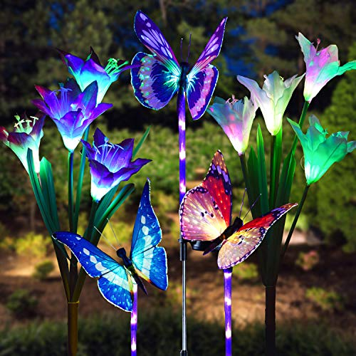 Doingart Garden Solar Lights Outdoor - 5 Pack Solar Stake Light Multi-Color Changing LED Garden Lights, 2 Pack Solar Lily Flower Powered Lights and 3 Pack Fiber Optic Butterfly Decorative Light