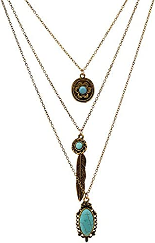 Sterling Silver Plated With Turquoise Stone Multi-Layer Chain Necklace