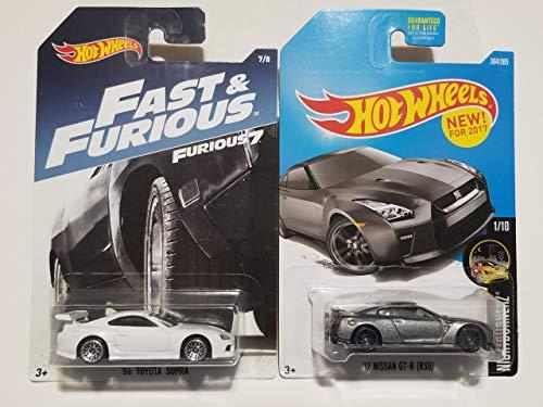 Hot Wheels Fast and Furious Toyota Supra (White) and '17 Nissan GT-R R35 (Grey) (Toyota Supra Hot Wheels Fast And Furious)