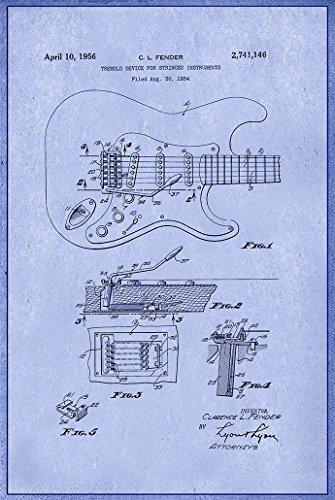 Fusion Blues Guitar - Digital Fusion Prints Fender Guitar (1956) Blue Print Patent Poster 24