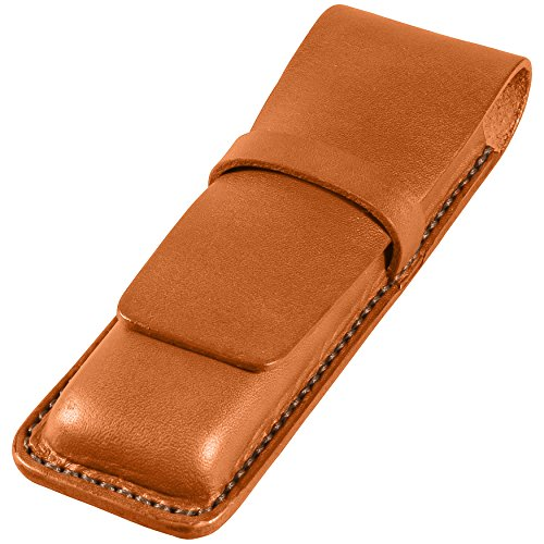 [Leather Double Pen Case, Bridle Cowhide Leather, Tan, Handmade] (Bridle Tan Leather)