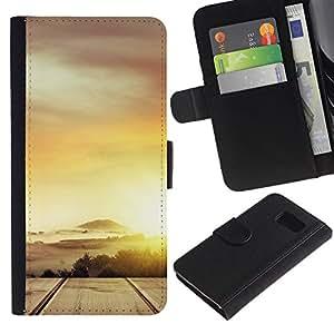 LASTONE PHONE CASE / Lujo Billetera de Cuero Caso del tirón Titular de la tarjeta Flip Carcasa Funda para Samsung Galaxy S6 SM-G920 / Desert Cloud Gold Sun Road