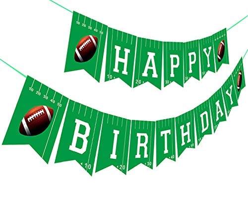 Lonar Football Happy Birthday Banner,Football Birthday Party Bunting Banner, Happy Birthday Sports Party Decorations