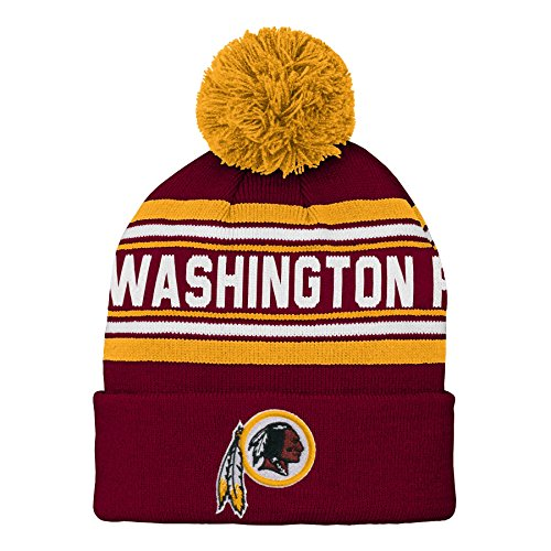 (Outerstuff NFL Washington Redskins Kids & Youth Boys Jacquard Cuffed Knit Hat with Pom Burgundy, Youth One Size)