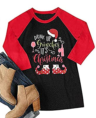 MOUSYA Women Drink Up Grinches It's Christmas Baseball Tees Funny Santa Hat 3/4 Sleeve Raglan Shirt Tops Blouse