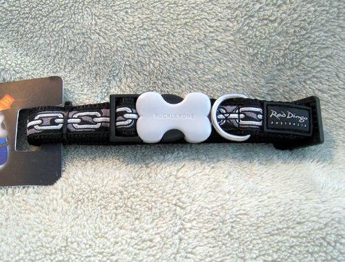 Red Dingo Designer Dog Collar, Medium, Chain