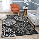 Rugshop Contemporary Modern Floral Area Rug, 7'10' x 10'2', Black