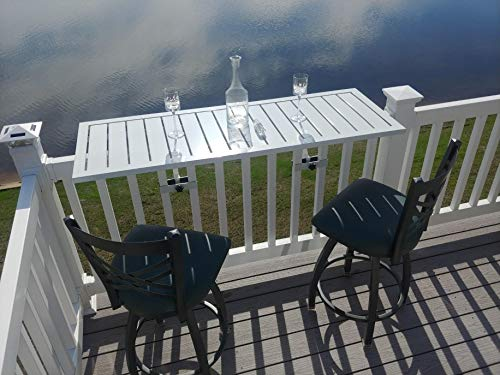 (Deck Rail Table | Fits Patio or Deck Railing As A Dining Table, Side Table or Bar top | Aluminum With Simple Attaching Bracket System (White))