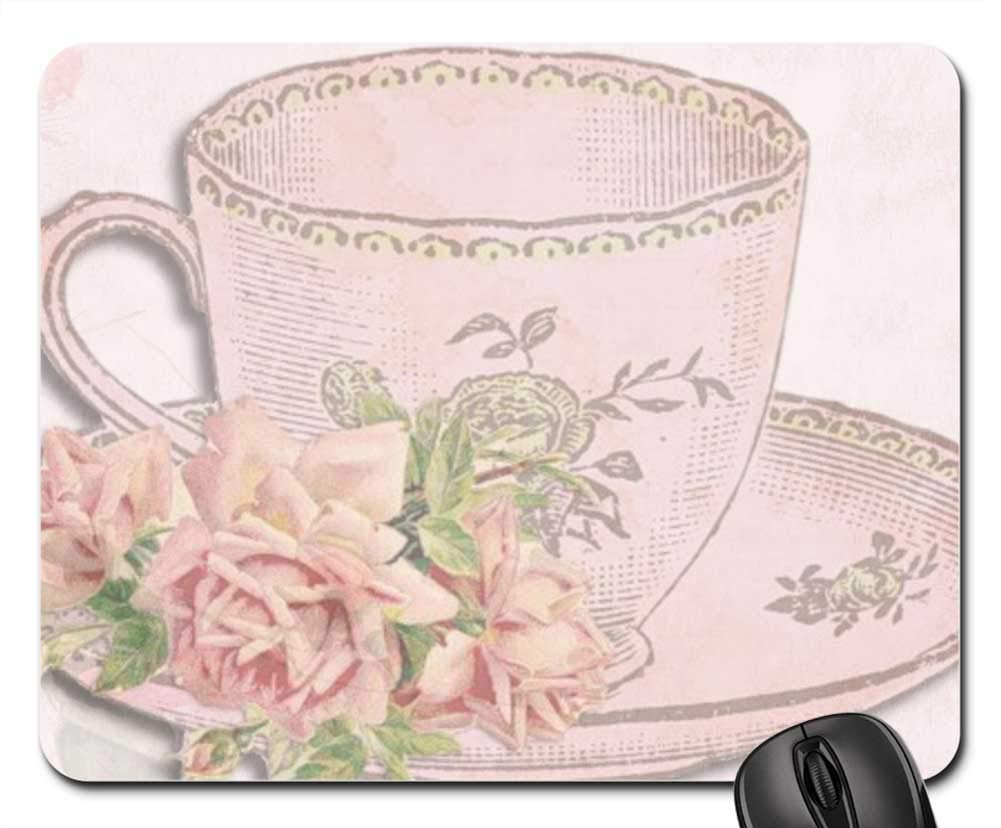 Amazon Com Ychy Mouse Pad Vintage Card Teacup Roses Pink