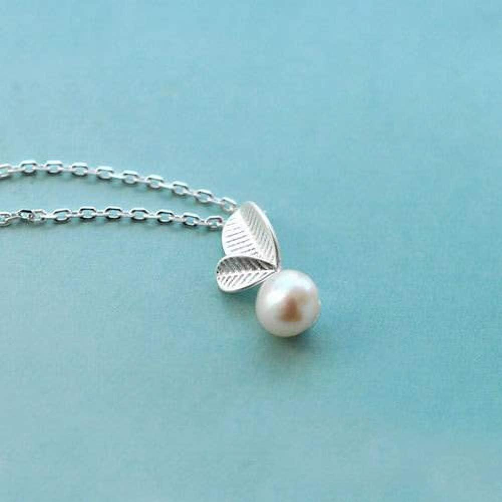 WOZUIMEI Pendientes de Plata Esterlina Collar de Gargantilla Collar de Hoja de Moda Femenina Collar de Plata de Ley 925 Collar de Perlas de Hoja Pequeña Joyería de Plata de Arte FrescoPlata 925