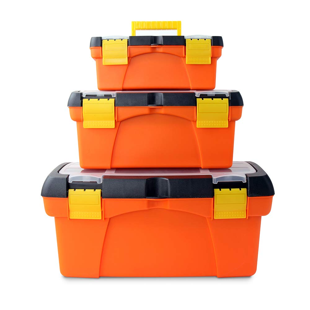 Hi-Spec Heavy Duty Tool Box Set with Parts Organiser Tray - for the Job Site, Garage & around the Home for Tools, Fishing Tackle, Arts & Crafts, Hobby Storage Equipment Box - High-Vis Orange (3 Piece)