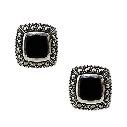 925 Solid Sterling Silver Tiny Black Marcasite Onxy Square Stud Earrings - Small Dainty Jewelry - Unisex