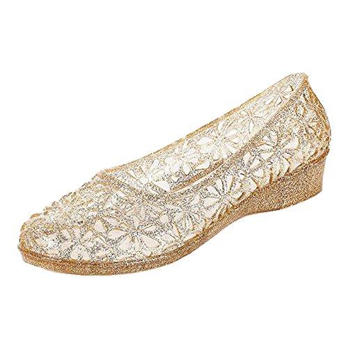 Sandales Pente Femmes Été Eastlion Fond Cristal Flash Poudre Sandales Transparent De Jardin De Gelée De Style 2 Or