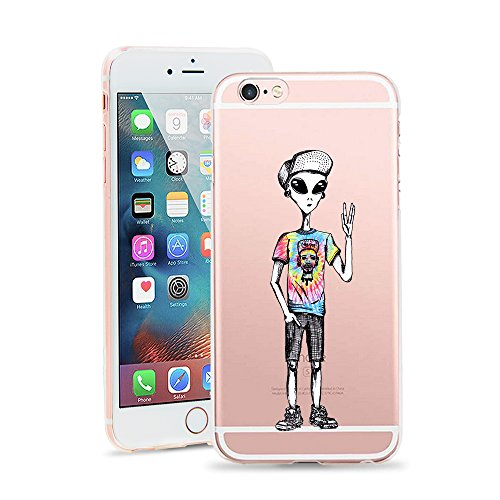 iPhone 8 Case, JICUIKE Cool Cartoon Color Printed Ultra Slim Translucent Silicone Clear Gel Doodle TPU Transparent Back Cover for Iphone 7 Soft Shell 4.7 inch [Star - Cool Cartoons