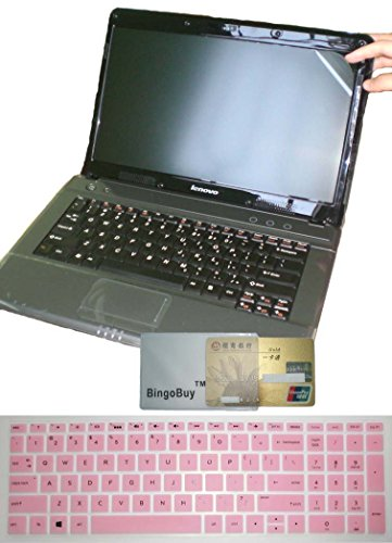 US Layout Keyboard Skin Cover + 15.6'' anti glare & scratch & fingerprint Screen Protector for HP 15-CB 15-CC 15-CD 15M-BP 15M-BQ 15-BW series (pink) (Hp Covers Cd)