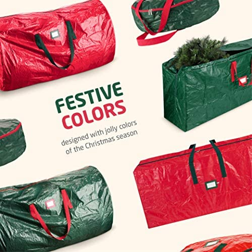 3-Pack Christmas Artificial Tree Storage Bag and Two Garland Bags; Holiday Tree Storage for Trees Up to 9 feet., Includes Card Slot, Dual Zipper, and Carry Handles; Waterproof Polyethylene