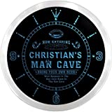 ncqa1564-b CHRISTIAN'S Football Man Cave Beer Pub LED Neon Sign Wall Clock