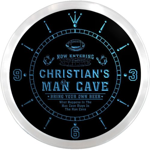 ncqa1564-b CHRISTIAN'S Football Man Cave Beer Pub LED Neon Sign Wall Clock by AdvPro Clock Name