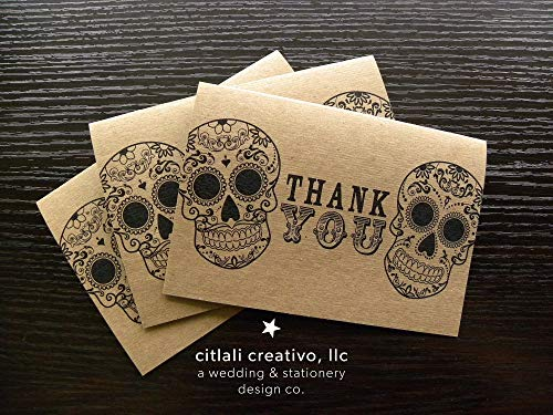 Kraft Sugar Skulls Thank you cards Set of 4 or 12 Blank Note cards + Envelopes