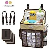 Baby Diaper Caddy and Nursery Storage Organizer - Hard Plastic Body Prevent from Sagging with Heavy Items - Hooks for Hanging on Cribs - Small Portable Size for Travel - Neutral Color for Boy or Girl