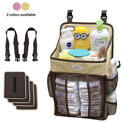 Baby Diaper Caddy and Nursery Storage Organizer - Hard Plastic Body Prevent from Sagging with Heavy Items - Hooks for Hanging on Crib - Small Portable Size for Travel - - Baby Newborn Crib Born
