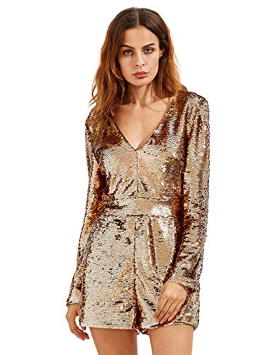 ROMWE Women's Long Sleeve V Neck Sequin Bodycon Party Romper Dress Gold XS