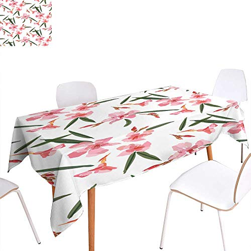 longbuyer Table Cover Pink Oleander Seamless Pattern Botanical Illustration Hand Drawn Vector Floral Design for Fashion Prints Scrapbook Wrapping Paper Rectangle/Oblong W 50