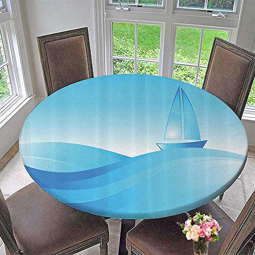 Mikihome Round Tablecloths The Sea Waves Transportati Sunshines and Clear Sky Vessel 40