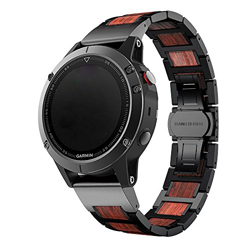 LDFAS Fenix 5X Plus Band, Natural Wood Red Sandalwood Black Stainless Steel Metal Watch Band, 26mm Quick Release Easy Fit Strap Compatible for Garmin Fenix 5X/5X Plus/3/3HR/Descent Mk1 Smartwatch