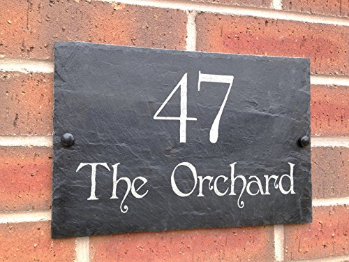 Slate House Sign Name Number Door House Sign 30x20cms (Free postage)