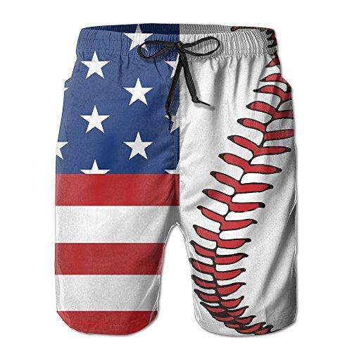 ZQ-SOUTH Men's USA Flag Baseball Lace Quick Dry Summer Beach Surfing Board Shorts Swim Trunks Cargo (Baseball Drawstring Shorts)