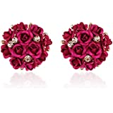 Shining Diva Fashion AAA High Quality Floral Gold Plated Stylish Fancy Party Wear Earrings For Women & Girls