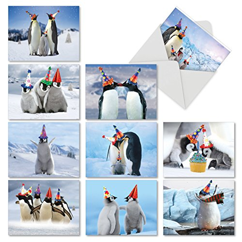 10 Birthday Note Cards Featuring Penguins Wearing Birthday Hats with Envelopes, Assorted 'Penguins and Greetings' Birthday Cards, Adorable Cards for Baby, Birthday 4 x 5.12 inch AM2951BDG-B1x10 ()