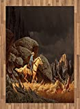 Western Area Rug by Ambesonne, A Rock Mountain Landscape with a Cowboy Riding Horse North America Style Folk Print, Flat Woven Accent Rug for Living Room Bedroom Dining Room, 5.2 x 7.5 FT, Gold Grey