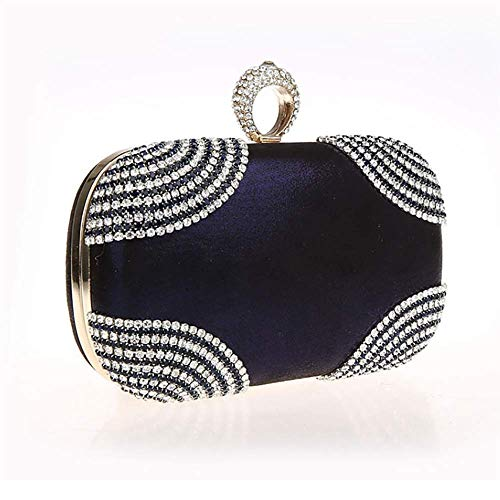 Bagood Blue Rhinestones Purses Clasp Evening Shining Deep Bag Clutches Handbag Evening Ring Women's 7E1rwxaq7
