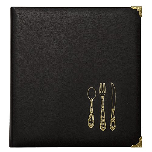 (C.R. Gibson Black and Gold Faux Leather Recipe Book With Tabbed Dividers and Sheet Protectors, 11'' W x 11.88'' H )