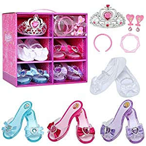 - 51o 2BdXE9EZL - Toy4baby Girls Princess Dress up Shoes Role Play Collection Shoes Set with Pink Princess Tiara Earrings and Bracelets