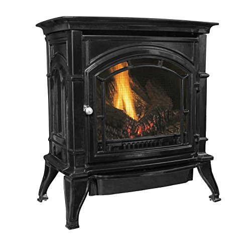 Best Price! Ashley AGC500VFBLP Vent-Free Black Enameled Porcelain Cast Iron Stove, 31,000 BTUs (Prop...