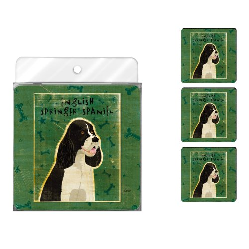 Tree-Free Greetings NC37997 John W. Golden 4-Pack Artful Coaster Set, Black and White English Springer Spaniel