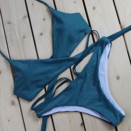 Ouneed Las mujeres push-up acolchado halter playa Bra bikini conjunto de color sólido traje de baño Verde