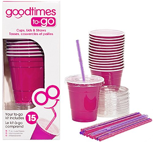 Goodtimes 9oz Kids Cups To-Go Kits With Lids And Straws (15, Pink) -