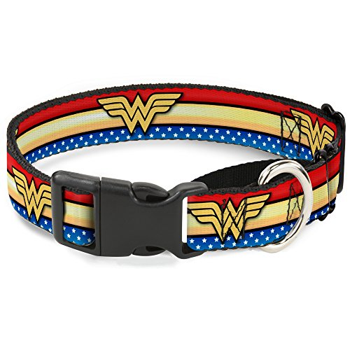 Stripe Martingale Dog Collar - Buckle Down Wonder Woman Logo Stripe/Stars Martingale Dog Collar, Red/Gold/Blue/White, 1