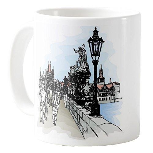 AquaSakura - Czech Republic Prague Charles Bridge and the Vltava River - 11oz Ceramic Coffee Mug Tea Cup