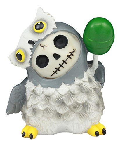 Ebros Furry Bones Hootie The Snow Owl Skeleton Figurine 3